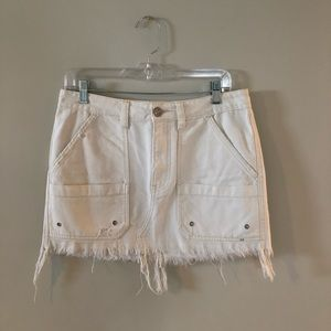 Free People white mini skirt with pockets